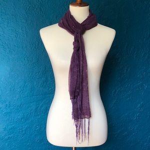 Purple skeet scarf with subtle sequins and fringe.
